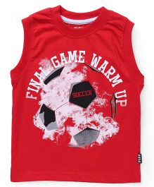 Fido Sleeveless T-Shirt Final Game Print - Red