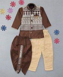 Little Groom 4 In 1 Ethnic Set With Broach & Pocket Squares - Brown