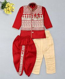 Little Groom 4 In 1 Ethnic Set With Broach & Pocket Squares - Red