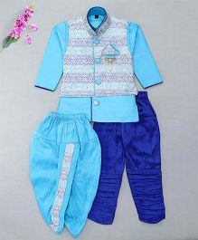 Little Groom Boys Ethnic Set With Broach & Pocket Squares - Sky Blue