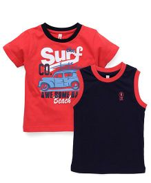 Spark Printed T-Shirts Printed Pack Of 2 - Carrot Red Navy