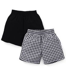 Spark Checks And Plain Shorts Pack Of 2 - Black