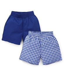 Spark Checks And Plain Shorts Pack Of 2 - Royal Blue