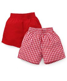 Spark Checks And Plain Shorts Pack Of 2 - Red