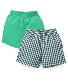 Spark Checks And Plain Shorts Pack Of 2 - Green