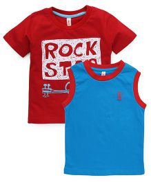 Spark Printed T-Shirts Printed Pack Of 2 - Red Teal Blue