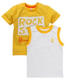 Spark Printed T-Shirts Printed Pack Of 2 - Mustard Off White