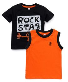 Spark Printed T-Shirts Printed Pack Of 2 - Black Orange