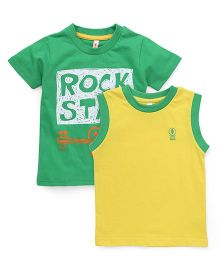 Spark Printed T-Shirts Printed Pack Of 2 - Green Yellow