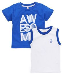 Spark Printed T-Shirts Printed Pack Of 2 - Royal Blue White
