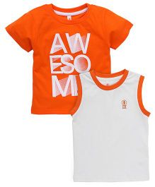 Spark Printed T-Shirts Printed Pack Of 2 - Orange Off White