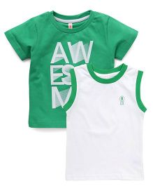 Spark Printed T-Shirts Printed Pack Of 2 - Green Off White