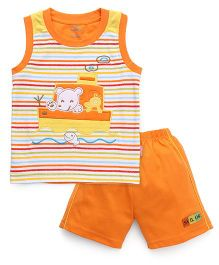 Child World Sleeveless T-Shirt And Shorts Ship Embroidery - Orange