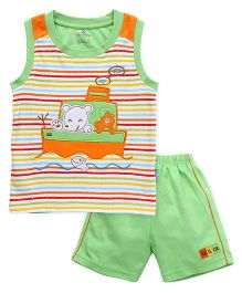 Child World Sleeveless T-Shirt And Shorts Ship Embroidery - Green