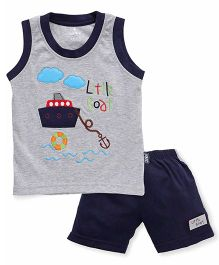 Child World Sleeveless T-Shirt And Shorts Little Boat Embroidery - Navy Blue