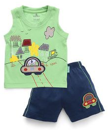 Child World Sleeveless T-Shirt And Shorts Embroidery Detail - Green