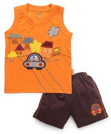 Child World Sleeveless T-Shirt And Shorts Embroidery Detail - Orange