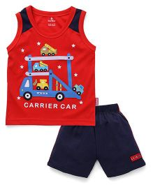 Child World Sleeveless T-Shirt And Shorts Carrier Car Embroidery - Red
