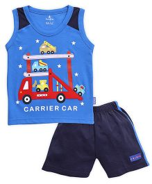 Child World Sleeveless T-Shirt And Shorts Carrier Car Embroidery - Blue