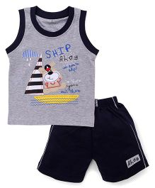 Child World Sleeveless T-Shirt And Shorts Ship Ahoy Print - Navy Blue