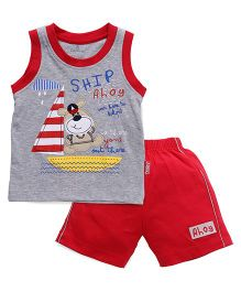 Child World Sleeveless T-Shirt And Shorts Ship Ahoy Print - Red