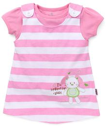 Child World Frock With Inner Top Bunny Embroidery - Pink