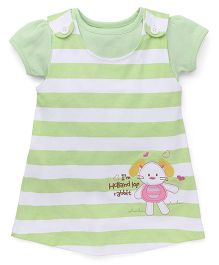 Child World Frock With Inner Top Bunny Embroidery - Green