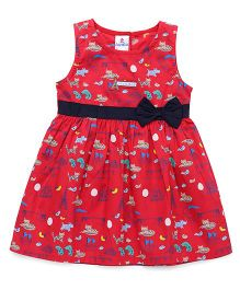 Child World Sleeveless Bow Frock Allover Print - Red