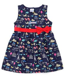 Child World Sleeveless Bow Frock Allover Print - Navy Blue