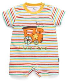 Child World Half Sleeves Striped Romper Train Embroidery - Yellow