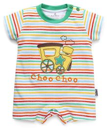 Child World Half Sleeves Striped Romper Train Embroidery - Green