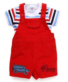 Child World Dungaree Romper With Striped Tee Racing Embroidery - Red
