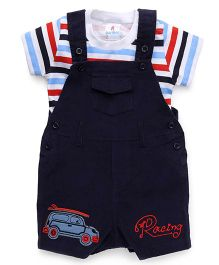 Child World Dungaree Romper With Striped Tee Racing Embroidery - Navy Blue