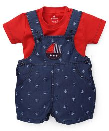 Child World Dungaree With Tee Anchor Print & Boat Embroidery - Blue & Red