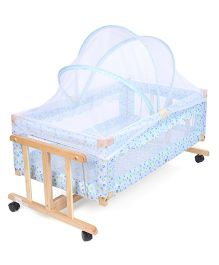 Multi Print Wooden Cradle With Mosquito Net - Blue