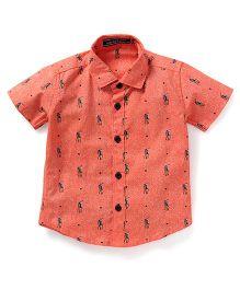 Smarty Half Sleeves Printed Shirt - Light Orange