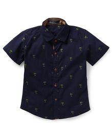 Smarty Half Sleeves Shirt Tree Print - Navy Blue