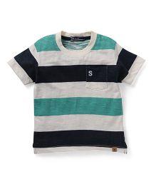 Smarty Half Sleeves T-Shirt Stripes Print - Green