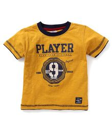 Smarty Half Sleeves Tee Player Print - Mustard Yellow