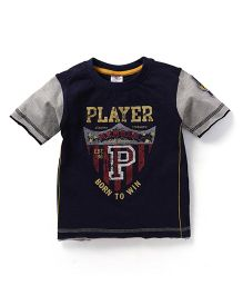 Smarty Half Sleeves T-Shirt Player Print - Navy Blue