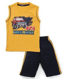Smarty Sleeveless T-Shirt And Shorts Wheel Drive Print - Mustard