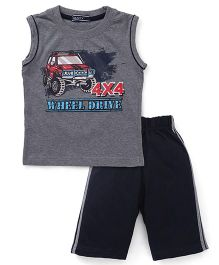 Smarty Sleeveless T-Shirt And Shorts Wheel Drive Print - Dark Melange