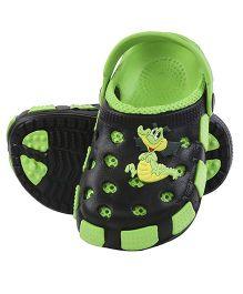 Imagica Clogs With Back Strap Crocodile Motif - Green Black