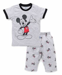 Proteens - Bodycare Half Sleeves Capri Night Suit Mickey Mouse Print - Grey