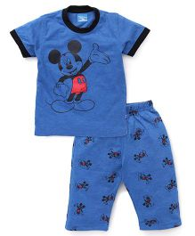 Proteens - Bodycare Half Sleeves Capri Night Suit Mickey Mouse Print - Blue