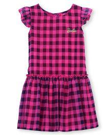 Barbie Ruffle Sleeves Dress Checks Print - Dark Pink