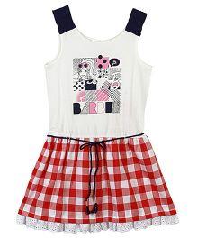 Barbie Sleeveless Dress Check Print - Red White
