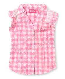 Barbie Ruffle Sleeves Shirt Check Print - Pink