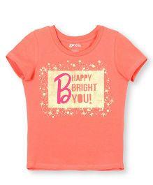 Barbie Short Sleeve Top Happy Print - Orange