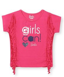 Barbie Short Sleeves Top With Fringes - Pink